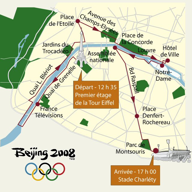 Paris JO 2008<br>Parcours