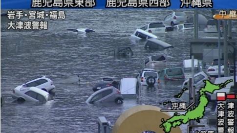 Voitures noyées dans le Sendai